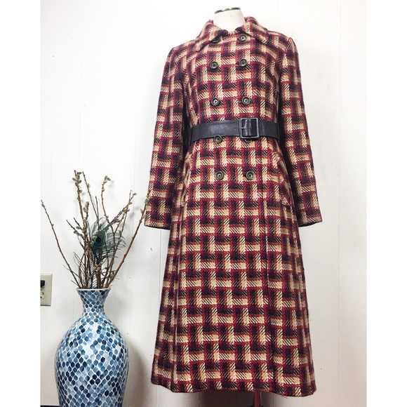 Vintage Jackets & Blazers - Vintage 60s 100% Wool Plaid Belted Trench Coat